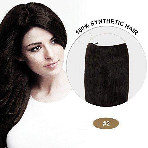 Secret Hair/ Flip-In Hair 20 Inches Invisible Attached Straight Hair / Balabella Hair (Dark Brown(#2))