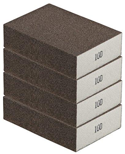 Schleifschwamm 4er Set MITTEL I Körnung 100, DIY, Handschleifer I für verschiedene Materialien geeignet I hochwertiger Handschleifklotz, Schleifklotz, Schleifblock