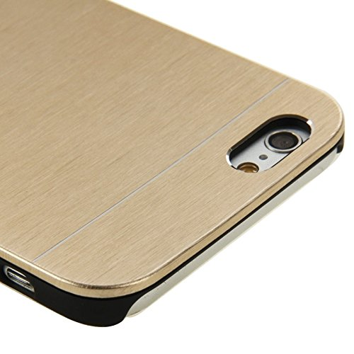 GHC Cases & Covers, 2 in 1 Brushed Texture Metall & Kunststoff Schutzhülle für iPhone 6 & 6S ( Color : Gold ) Gold