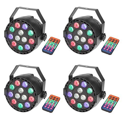 DMX Par Licht mit Fernbedienung Mischfarbe LED RGBW Ton Aktivieren Disco Beleuchtung für Parteierscheinen KTV DJ Hochzeit (4 Stück)
