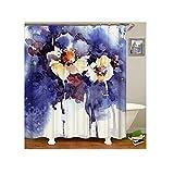 Bishilin Antischimmel 3D Duschvorhang 150x200 Multicolor Blume Badezimmer Duschvorhang