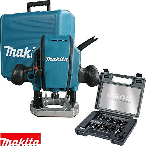 "Makita RP0900X Heavy Duty 1/4 or 3/8"" Plunge Router 110V + Trend 12Pc Cutter Set"