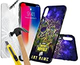 Samsung Galaxy J3 2016 FORTNITE PERSONALSED PRINTED DESIGN CASE, Choose Iniatals, Name, Any Word, Create Your Own, Unique Custom Cool Design Protective Hard back Slim Thin Fit PC Bumper Case with 9H Hardness Screen Protector Tempered Glass for r for Samsung Galaxy J3 2016 - FORTNITE PERSONALSED, Battle Royale Design 0014