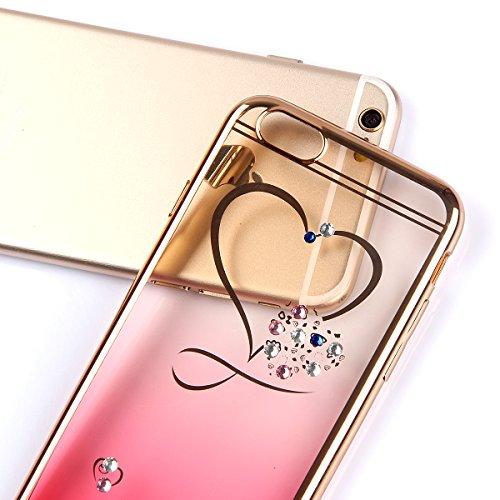 Apple iphone 6/6s (4.7 pouces) Coque en Soft Silicone TPU Transparent, Ekakashop Créatif Belle Conception de Série Fleur Flexible Souple Gel Housse Etui Cas de Protection pour iphone 6, Matériaux Galv Amour rouge dégradé