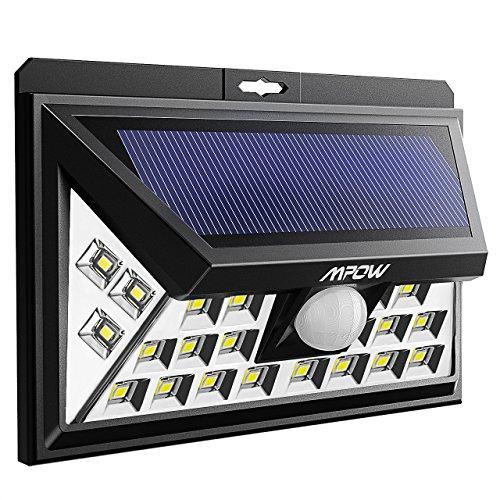 Preisvergleich Produktbild Mpow Neue Solarleuchte,  Super Helle Solar Wandleuchte mit 3 Modi-Bewegungssensor und verbesserter galvanischer Leiterplatte, Solarleuchte Garten für Innenhof, Deck,  Hof, Garten, Auffahrt