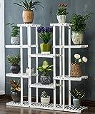ZENGAI Korrosionsschutz Verkohlung Holz Blumenständer Blumentopf Regal Blumenregal Für Balkon, Innere (Farbe : Weiß)