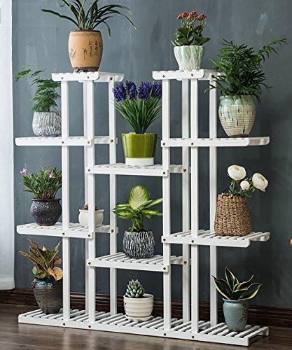 Pflanzenstandplatz Massivholz Mehrzweckblume Stand Pflanzen Display Rack Geeignet für Outdoor Wohnzimmer Balkon | 2 Farbe (Farbe : Weiß)