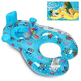 qilerongrong Mother and Baby Inflatable Swimming Float Safety Double Person Swimming Ring Pool Toys