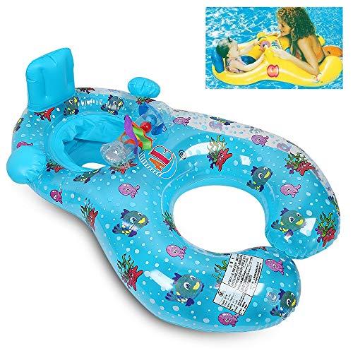 QIN-KEJI Baby Schwimmsitz Schwimmhilfe Schlauchboot Schwimmreifen, Doppel schwimmring Schwimmhilfen Schwimmen Ring für Baby von 6 Monaten bis 3 Jahre und Mutter