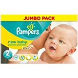 Pampers New Baby Nappies Size 2 Jumbo Pack 74 per pack Case of 1