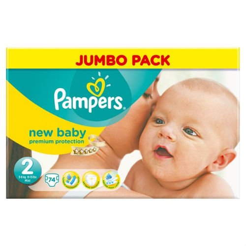 Pampers New Baby Nappies Size 2 Jumbo Pack 74 per pack Case of 1 by Pampers