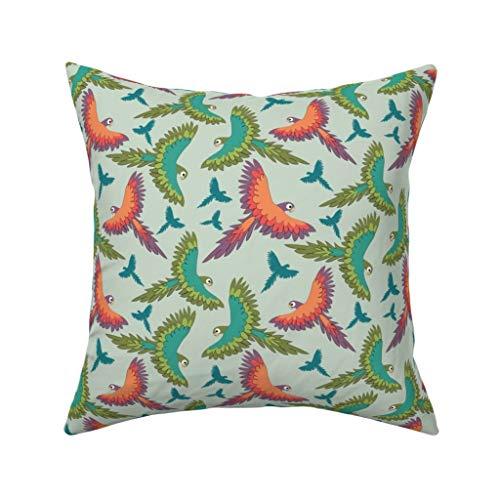 MrRui Decorative Pillow Covers Parrots In The Air Square Kissenhülle Cotton Kissenbezug Home Decor for Sofa Car Bedroom 18x18 Inch -