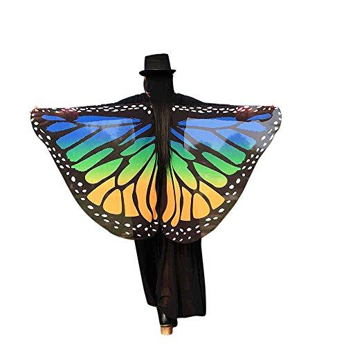 YWLINK Karneval Retro Umhang Pfau SchmetterlingsflüGel Chiffon Schal Fee Pixie Erwachsener Damen Herren Party Cosplay Bunt KostüMzubehöR Halloween Weihnachten KostüM