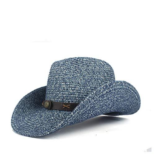 Ducky Für Kostüm Erwachsene - Westlichen Cowboyhüte Männer Frauen Sommer Spreu Cowgirl Party Kostüm Crimpen Westlichen Hut Sombrero Hombre Cowboyhüte for Männer Klassischer Cowboyhut (Farbe : Blau, Größe : 56-58)