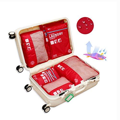 Eazeehome 9 Sets Reiseveranstalter Verpackungswürfel Gepäck Organizer in Koffer Koffertaschen Reisegepäck Wasserdichte Robuste (9Sets Rote) Rote