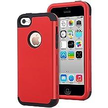 iPhone 5C Funda,Dailylux Carcasa iPhone 5c Funda iPhone 5c híbrido de alto impacto de silicona suave y cubierta de la caja dura de la PC para iPhone 5C -rojo + negro