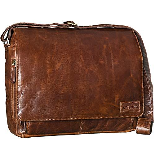 STILORD 'Rick' Schultertasche Leder für 15,6 Zoll Laptop Umhängetasche Aktentasche Bürotasche Unitasche Büffel-Leder, Farbe:antik - braun