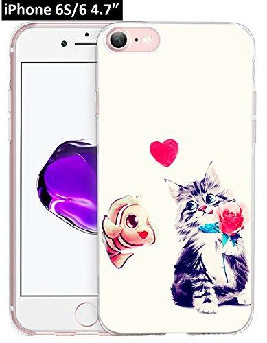 6S Hülle Pfau, Ecute Weiche Slim Flexible Deutlich, Gummi Seite + Stil Harte Rückseite Fall für iPhone 6S/für iPhone 611,9cm-Blau Peacock-Color Blumen, 6S/6-41