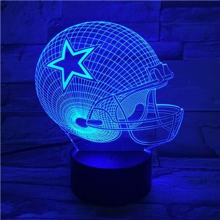 3D Nachtlicht Dallas Cowboys Helm S Led Lampe 7 Farben Ändern Acryl USB Led Tischlampe Kinder Geschenk Kreative Nachtlampe
