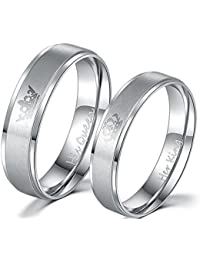 Moneekar Jewels 2PCS Her King/His Queen Silver Titanium Stainless Steel Laser Inscribed Crown Couple Rings for Lovers