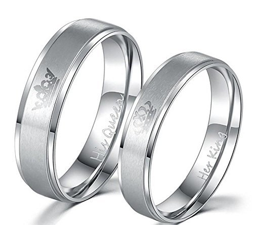 Moneekar Jewels 2PCS Her King/His Queen Silver Titanium Stainless Steel Laser Inscribed Crown Couple Rings for Lovers(PLEASE SELECT MEN & WOMEN PAIR SIZE FROM STYLE OPTION AS PER YOUR SIZE REQUIREMENT)
