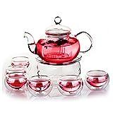 ez-buy teiera in vetro e resistente al calore–Set di tazze da tè da 800ml con infusore colino da tè con porta–Set tazze a doppia parete