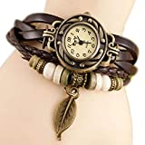 Dosige Montre-Bracelet Style Rétro Feuilles Pendentif Montre au Poignet Accessoires...