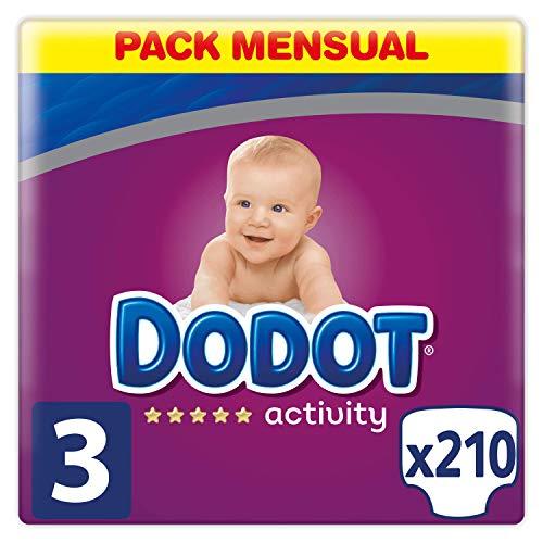 Dodot Protection Plus Activity - Pañales para bebé, Talla 3 (6-10 kg),  210 Pañales