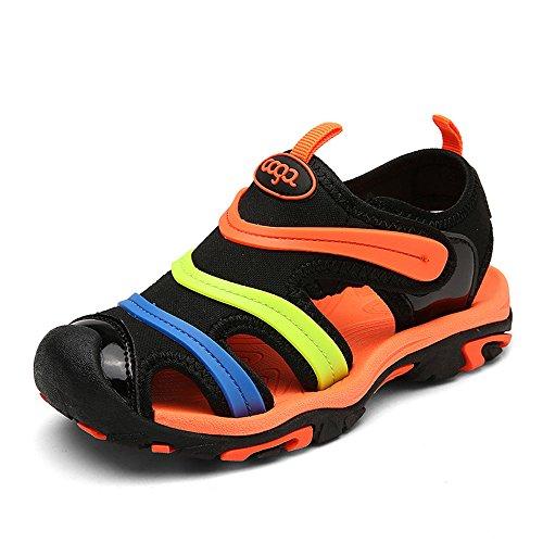 Orange Jungen Sandalen (NASONBERG Jungen Sandalen, Kinder JungenMädchen Sandalette SchuheOutdoor Sport SandalenKlettverschluss SommerSchuhe,Orange,28 EU)