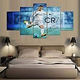 QJXX Wandbild 5 Panels Cristiano Ronaldo Poster Kunstdrucke auf Leinwand, Intensive Fußballspiel-Leinwände, Bedruckt für Heimdekoration, B, 20 x 35 x 2 + 20 x 45 x 2 + 20 x 55 x 1