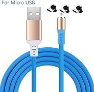 Distinct® 3 in 1 Micro USB/Type C magnetische kabel 1m 360 graden roterende LED gloeiende USB opladen draad compatibel met K