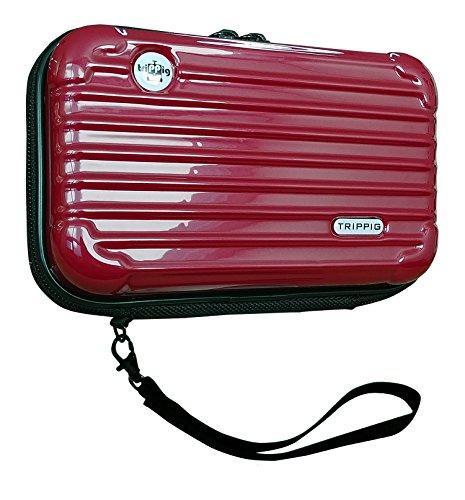 [TRIPPIG] Reisepass Halter / Reisepass Hülle / Reise Clutch Tasche / Kosmetik Organizer / Mini Gepäck Form / Kreditkarten Organizer mit Handschlaufe(wein)
