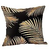 SHINEHUA Bettwäsche aus Baumwolle Schwarz und Gelb Reißverschluss Werfen Kissenbezug Kissenbezüge Lendenkissen Sofa Kissenhuelle Haus Zimmer,45 x 45 cm(E,1PC)
