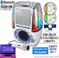 BLUETOOTH CD Player Karaoke - Classic 605 (1 M1C + 3 CDs) Home Disco Party Light �?? Boys / Girls - CDG + Format (Connect TV to display song lyrics) Link Samsung Galaxy, iPhone, iPad, Sony Xperia (Party Pack 1)