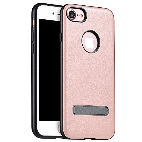Funda iPhone 7, PUGO TOP PU Genuina Funda De Piel, Con Funci¨®n Stand Para El iPhone 7 Dise?o, Rose Pink