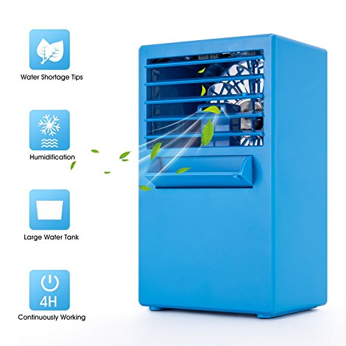 Luftkühler Mini Klimaanlage , Tragbare EEIEER 2 in 1 Mobiles Ventilator Klimageräte mit Wasserkühlung Air Cooler , Klimagerät ohne Abluftschlauch für Büro, zu Hause, Camping usw.