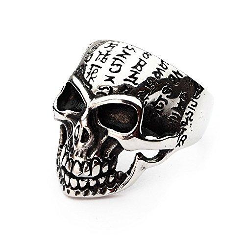 Miss-E-Jewels Silber Edelstahl Alien Symbols Skull Ring für Herren Biker Punk Goth mexikanischen Monster Größe: V, 11, 24, 64