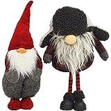 R.P. Coppia Fermaporta Gnomi Elfi Maxi Winter - Pupazzi Decorativi Natale Country Chic - Coppia GNOMI Aron E Barone