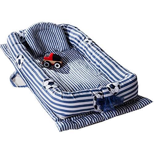 by-Jungen-Mädchen-Fußball-Entwurfs-Transporter-Schlafkorb-Snuggle-Nest mit Kissen-Griff-Stubenwagen für Bett-Karikatur-Bärn-Entwurfs-tragbare Baumwollkrippe für Schlafzimmer-Reise- ()