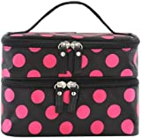 DAOKAI® Polka Dots Double Layer Dual Zipper Cosmetic Bag Toiletry Bag Make-up Bag Hand Case Bag