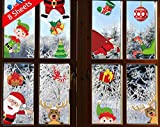 heekpek Autocollant de Noël Statique Père Noel Wapiti Elfe Calcomanie Deco Noël Réutilisable pour Cuisine Chambre Fenêtres Baie Vitrée
