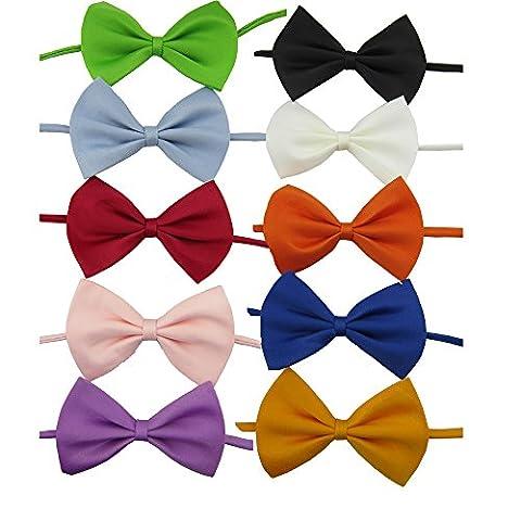 YCNK 10 Assorted Colours Dog Cat Puppy Bow Tie Collar Necktie Adjustable Collar 8-17