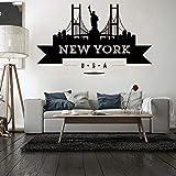 ganlanshu New York Victory Bridge Maison décoration Stickers muraux Chambre d'enfant décoration Chambre Stickers muraux peintures murales New York Stickers muraux 77cmX127cm