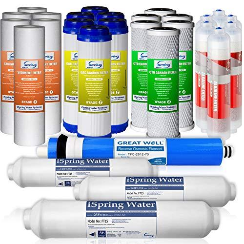iSpring 6-Stufen Ersatzfilterset für 3 Jahre für 75 GPD Alkalien-RO-Systeme 75GPD - Ro-system