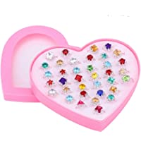 TOYMYTOY Adjustable Rings Set for Little Girls | 36pcs Jewelry Rings with Heart Shape Box, Birthday Gift