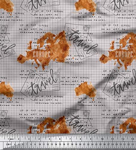 Soimoi Grau Baumwoll-Popeline Stoff Text & Europa-Karte Reise gedruckt Craft Fabric 1 Meter 42 Zoll breit - Von Reise-karte Europa