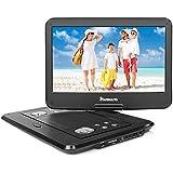NAVISKAUTO HD 14 Zoll Tragbarer DVD Player Kinder Portable Dvd Player 4-5 Stunden Akku 270° Drehbarer Bildschirm DVD Memory SD USB AV IN OUT(14001B, Keine Kopfstützenhaltung)