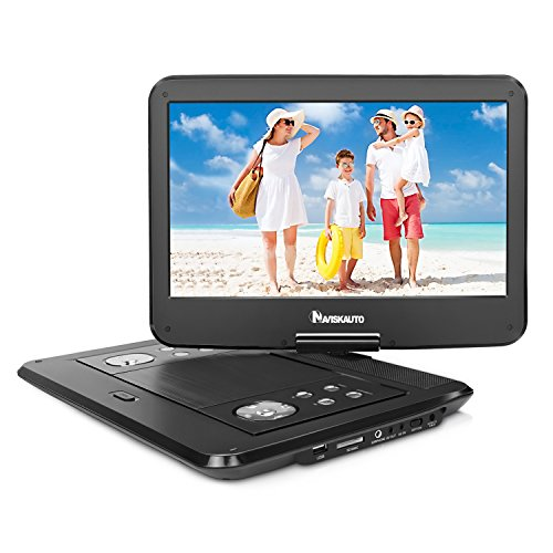 NAVISKAUTO HD 14 Zoll Tragbarer DVD Player Kinder Portable Dvd Player 4-5 Stunden Akku 270° Drehbarer Bildschirm DVD Memory SD USB AV IN OUT(14001B, Keine Kopfstützenhaltung) (Dvd-player Dual Portable)