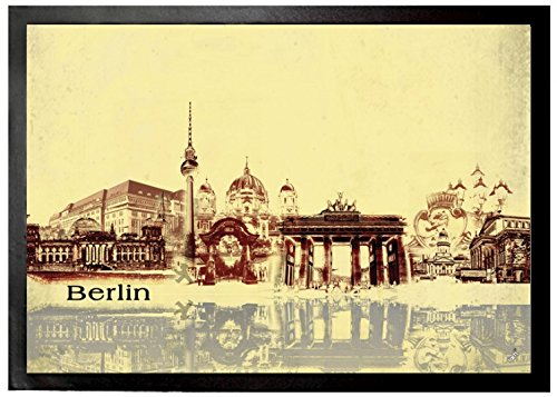 1art1 94356 Berlin – Städte-Collage, Vintage Style Fußmatte Türmatte 70 x 50 cm