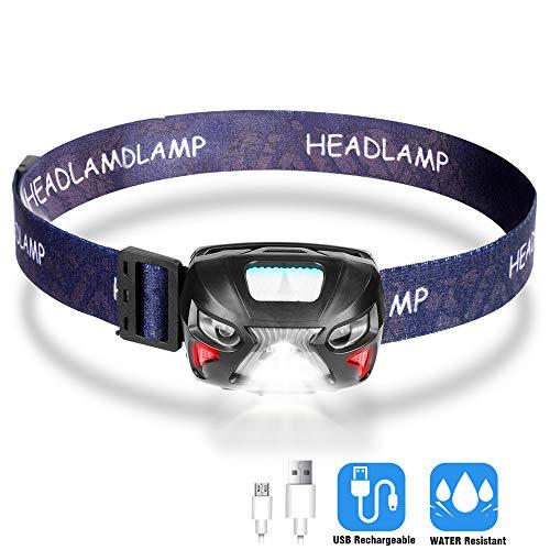 Etmury LED Stirnlampe, Kopflampe USB Wiederaufladbare Mini Stirnlampen LED Wasserdicht Leichtgewichts, Sensor Kopfleuchte Warnen Rotlicht fürs Arbeiten Laufen Joggen Angeln Campen Lesen Radfahren